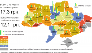 Мал. 3.1. Надходження податку на нерухоме майно за регіонами України за січень-грудень (порівняно з показниками за січень-вересень)