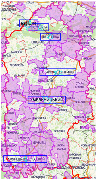 Малюнок 2.2. ОТГ на карті Хмельницької області